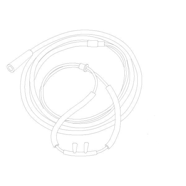 Oxygen Nasal Cannula Foam Cushion Nasal Tip 7' Tubing  Standard Connector Adult RTG-05032